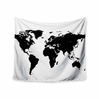 World Map - Black White Geological Digital Wall Tapestry