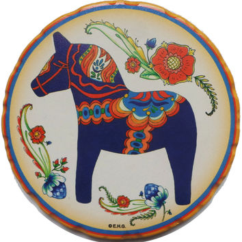 Ceramic Coaster Gift Sets: Blue Dala Horse