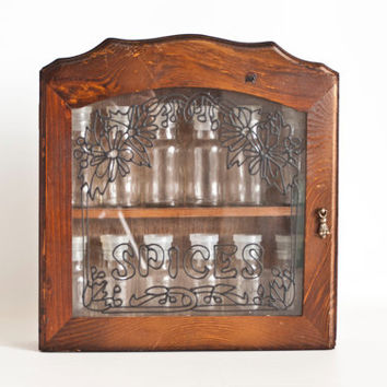 NEW- Vintage Wooden Wall Spice Rack with Glass Jars, Glass Cabinet Mini Apothecary Jars Spice Shelf, Stained Glass Design, Never Used