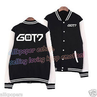 KPOP GOT7 Baseball Uniform  Coat Fly Unisex Jackson Varsity Jacket Coat Mark