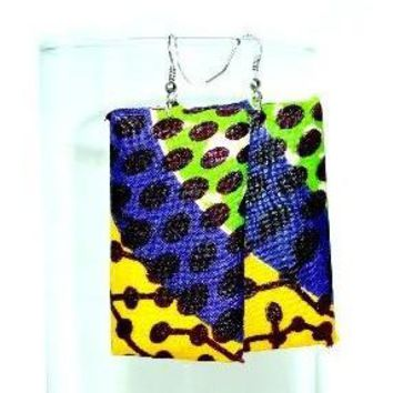Yellow And Purple Wood Square Earrings