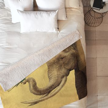 Eric Fan Elephant And Bird Fleece Throw Blanket
