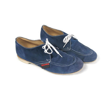 Vintage Bowling Shoes Blue Suede Shoes 70s Lace up Oxfords Womens Flats Swing Dancing Rockabilly Sock Hop Saddle Shoes (7.5)