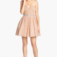 Way-In Embellished Lace Fit & Flare Dress (Juniors) (Online Only) | Nordstrom
