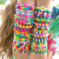 FREE SHIPPING 50 Cute, Colorful Kandi Rave Bracelets, Rainbow, Bright, Neon, Happy, Kawaii, Ravewear
