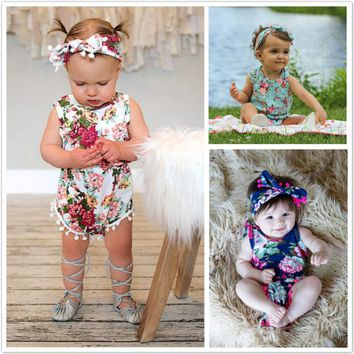 Floral Newborn Infant Baby Girls Rompers Jumpsuit Sunsuit Printed Tassel Baby Girls Clothes One-Pieces Floral Girls Romper 0-24M