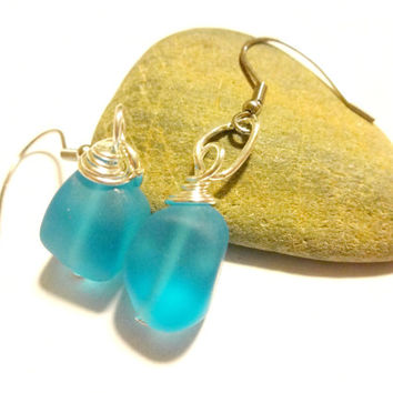 Turquoise Blue Sea Glass Earring, Ocean Inspired Dangle Earring, Beach Theme Earring, Gift For Her Under 20