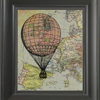 Pink ballon coming to Spain -printed on Map page. 250Gram paper.