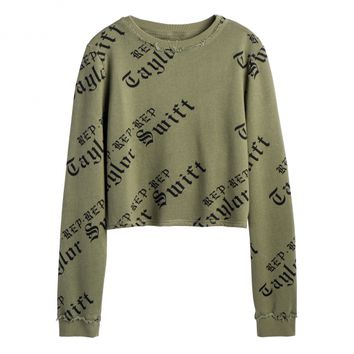 LADIES OLIVE CROP LONG SLEEVE TOP