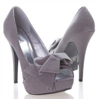 Qupid Women's NYDIA119 Open Peen Toe Bow Platform High Heel Stiletto Pump Shoes, Gray Faux Suede
