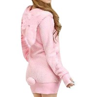 Etosell Women Cosplay Bunny Rabbit Ear Shirt Tops Hoodie Warm Fleece Coat