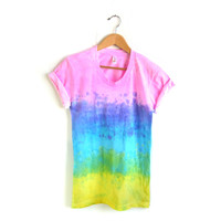 "The Original ""Splash Dyed"" Hand Painted Scoop Neck Pinned Rolled Cuffs Tee in Light Rainbow Sunset - S M L XL"