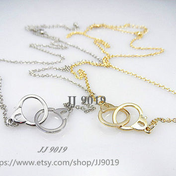 Fashion Necklace , Handcuffs Necklace,Gold, Silver, Friendship Graduation Birthday Gifts,