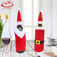 Red Santa Hat Jacket Wine Bottle Wrap Cover Topper Christmas Party Dinner Decor Christmas Free Shipping