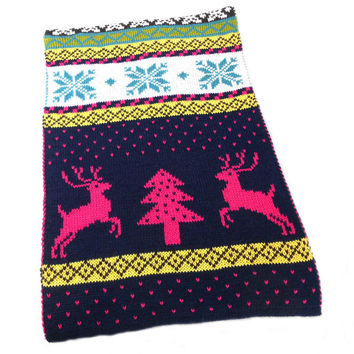 2016 Winter New Women Christmas Deer Printed Pattern Knitted Scarf Female Warm Shawls Bohemia Cotton Scarves Gift