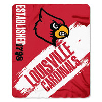 Louisville Cardinals NCAA Light Weight Fleece Blanket (Painted Series) (50inx60in)