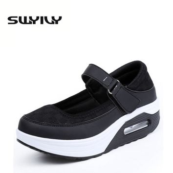 Mesh Breathable Cushion Women Toning Shoes 5CM Height Increasing Hook-loop Wedge Swing Shoes White Nurse Shoes Spring Autumn