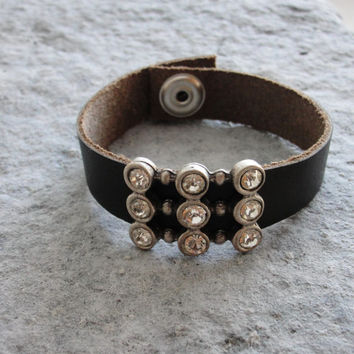 Leather Bling Bracelet - Crystal Rhinestone Jewelry Leather and Metal