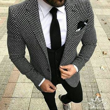 2018 Brand Style Suits Men Black White Floral Pattern Men Suit Slim Fit Groom Tuxedo 3 Piece Custom Prom Blazer Terno Masculino