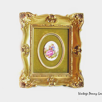 Vintage Wall Art, Framed Ceramic Cameo