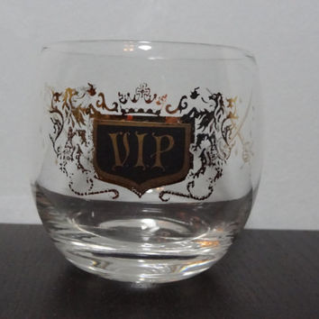 Vintage VIP Gold Rimmed Roly Poly Cocktail Bar Glass/Low Ball/Rocks Glass - Mid Century Modern - Mad Men Style