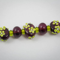 Hollow Lampwork Bead Set in Dark Purple and Lime Green