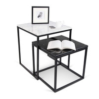 Prairie Nesting Tables With Marble Tops White Marble Top / Black Marble Top / Black Legs