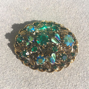 Green Austria Brooch, Emerald Green, Oval, Domed Pin, Gold-tone, Teal, Aurora Borealis, Rhinestone, Vintage Jewelry