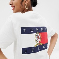 TOMMY JEANS Summer Fashion Women Men Casual Print Short Sleeve T-Shirt Tunic Top White