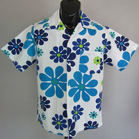 Mens Vintage 60s Mod Daisy Hawaiian Shirt Luau Floral Atomic Tiki Party Rat Pack Mad Men