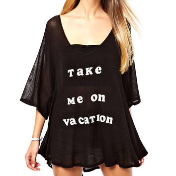 Take Me On Vacation Graphic Print Loose Fit Black Dress