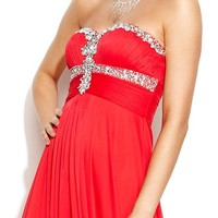 Xscape Strapless Embellished Ruched Gown
