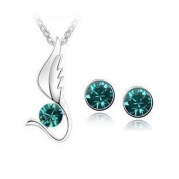 Winged Gem Mental Health Awareness Necklace and Earrings Set