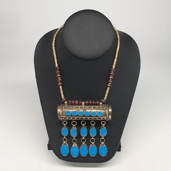 Ethnic Afghan kuchi tribal Fashion Blue Glass Big Bullet Necklace Handmade TN166