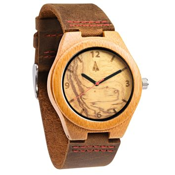 Wooden Watch // Olive Ash Red Small