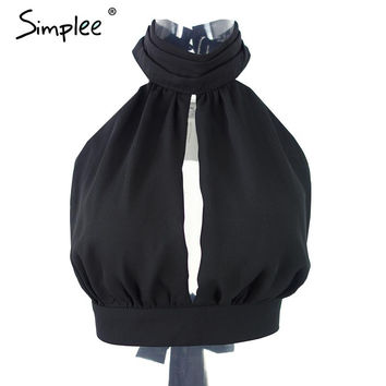 Simplee Apparel Summer 2016 sexy backless black lace women tank top Girls high neck elegant halter tops Party bow