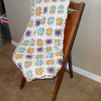 "Crochet Granny Square Throw/Crib Afghan, Handmade, 34"" x 54"", Acrylic"