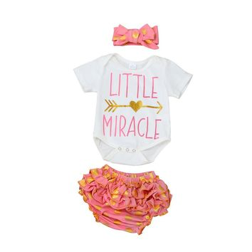 "6-24M ""LITTLE MIRACLE"" Short Sleeve Onesuit + Ruffle Shorts & Headband"