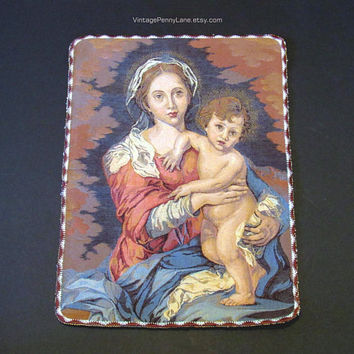Vintage Tapestry Panel, Madonna and Child, Mother and Child