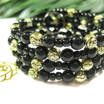 Bracelet Key Fob, Black and Antiqued Gold Rose Beads, Lacy Rose Charm