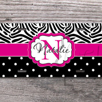Zebra pattern with Black Small Polka Dots and Magenta Monogram, Custom License Plate, Personalized license, front car tag - 302