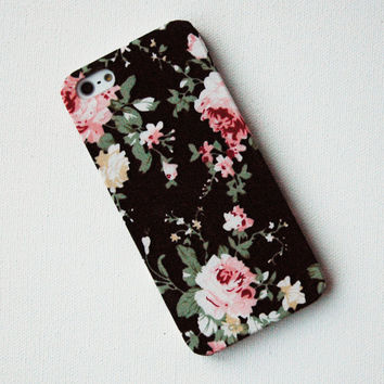 Pink Floral Pattern on Black Fabric iPhone 5 Case