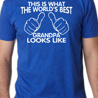 WORLD'S BEST GRANDPA This is what the world's best grandpa looks like mens T-shirt shirt tshirt gift Father's Day gift