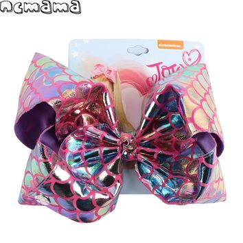 8 Inch Jumbo Mermaid Scale Hair Bows with Gift Card for Kids Girls Metallic Leather Hairgrips Hair Accessories