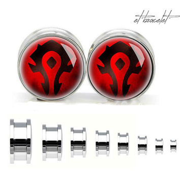 Horde world of warcraft stainless steel ear gauge, silvery tunnel plugs,Stainless Steel Screw Ear Gauges, Flesh Tunnels Plugs,