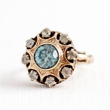 Vintage Zircon Ring - 10k Rosy Gold Genuine Blue White Gem Flower Cluster - 1930s Art Deco Size 7 1/4 OB Otsby and Barton Halo Fine Jewelry