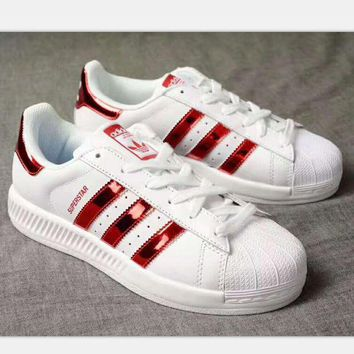 VONE05O ADIDAS Superstar Shell Toe Women Casual Running Sport Shoes Sneakers white(red reflect