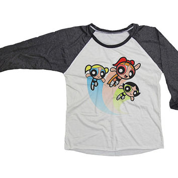 Powerpuff Girls Shirt T-Shirt Jersey Baseball 3/4 Raglan Sleeve Tee Unisex Shirts Women S M L XL