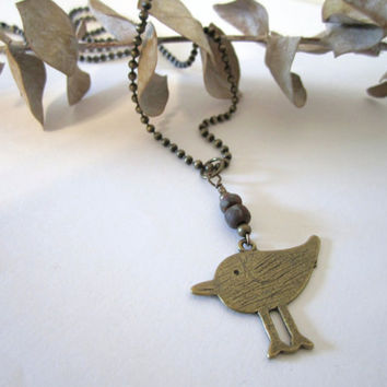 Bird Necklace - Brass by 636designs