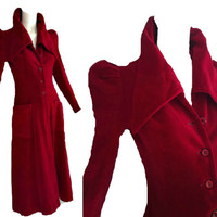ViNtAgE 30's 40's RED Velvet Opera Coat Mutton Sleeve Deco Collar Dress Coat Holiday Cocktail Evening Coat Long Maxi Duster Cape XS